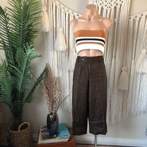 Nine West Linen Brown Culottes Braided Belt